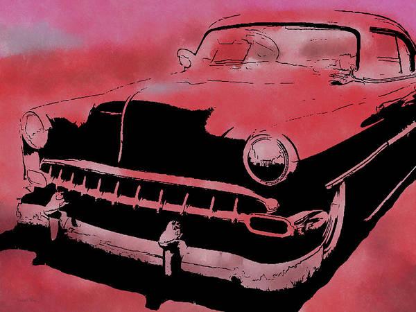 Digital Art - Custom 1954 Chevy Red by David King