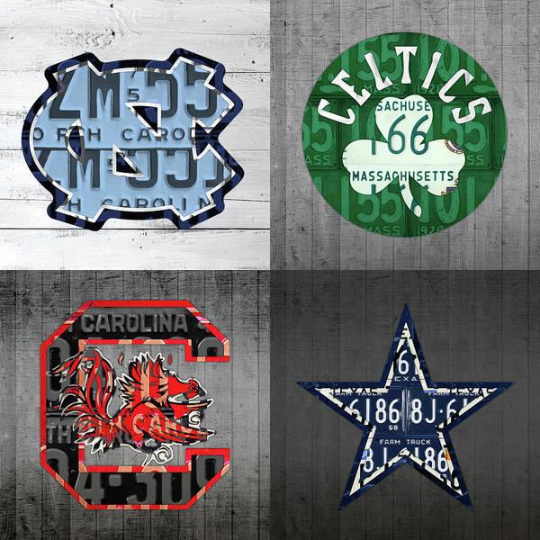 Celtic Mixed Media - Custom 4 Team License Plates Sport Art No 1 by Design Turnpike