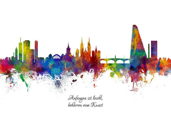 Wall Art - Digital Art - Custom Artwork Basel Switzerland Skyline by Michael Tompsett