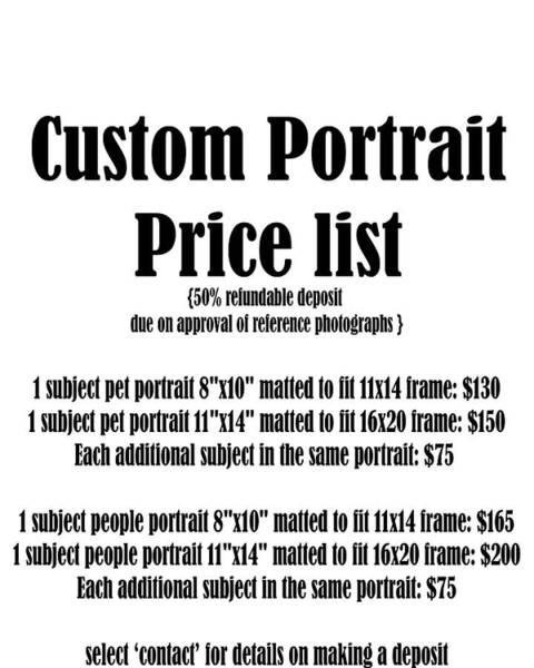 Painting - Custom Portrait Price List by Kate Sumners