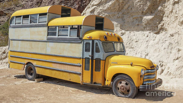 Wall Art - Photograph - Custom School Bus Camper Eldorado Canyon Nevada by Edward Fielding