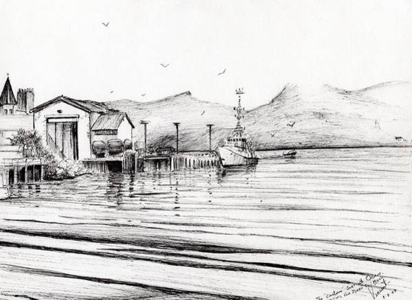 Pier Drawing - Customs Boat At Oban by Vincent Alexander Booth