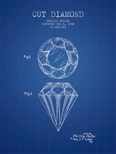 Patent Drawing - Cut Diamond Patent From 1873 - Blueprint by Aged Pixel