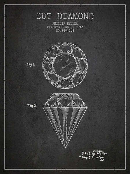 Vintage Patent Drawing - Cut Diamond Patent From 1873 - Charcoal by Aged Pixel