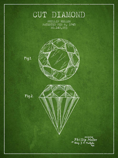 Vintage Patent Drawing - Cut Diamond Patent From 1873 - Green by Aged Pixel