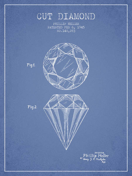Vintage Patent Drawing - Cut Diamond Patent From 1873 - Light Blue by Aged Pixel