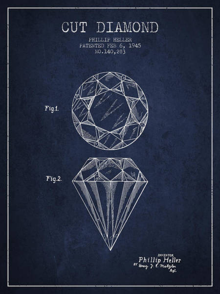 Vintage Patent Drawing - Cut Diamond Patent From 1873 - Navy Blue by Aged Pixel