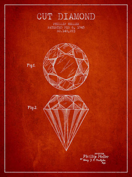 Vintage Patent Drawing - Cut Diamond Patent From 1873 - Red by Aged Pixel