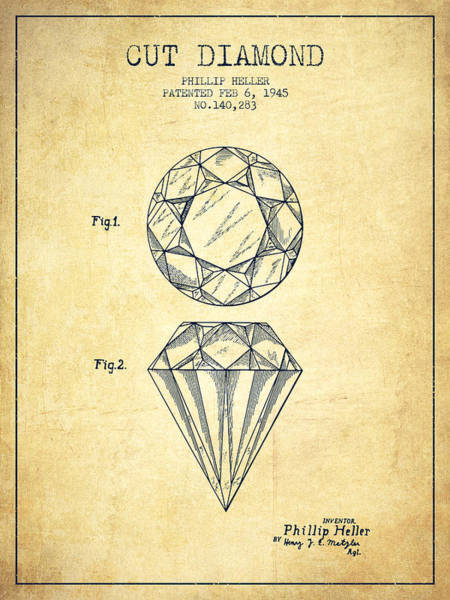 Vintage Patent Drawing - Cut Diamond Patent From 1873 - Vintage by Aged Pixel