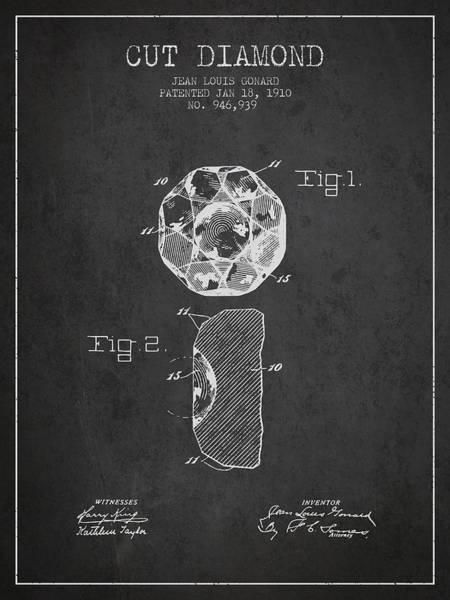 Wall Art - Digital Art - Cut Diamond Patent From 1910 - Charcoal by Aged Pixel