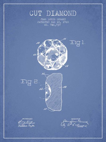Wall Art - Digital Art - Cut Diamond Patent From 1910 - Light Blue by Aged Pixel