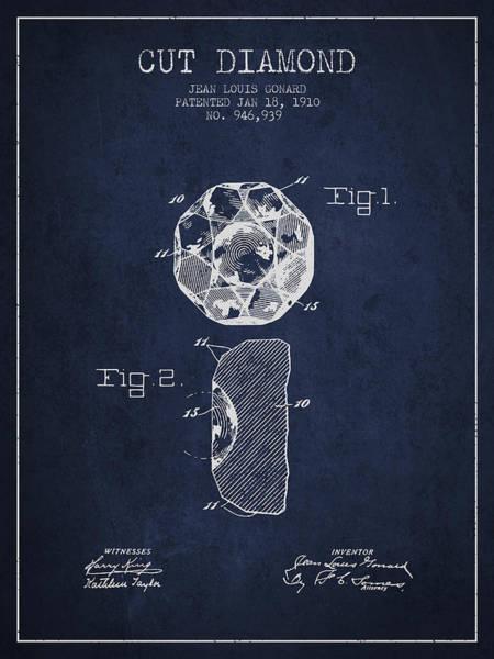 Wall Art - Digital Art - Cut Diamond Patent From 1910 - Navy Blue by Aged Pixel