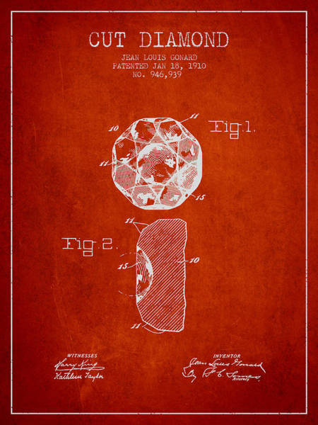 Wall Art - Digital Art - Cut Diamond Patent From 1910 - Red by Aged Pixel