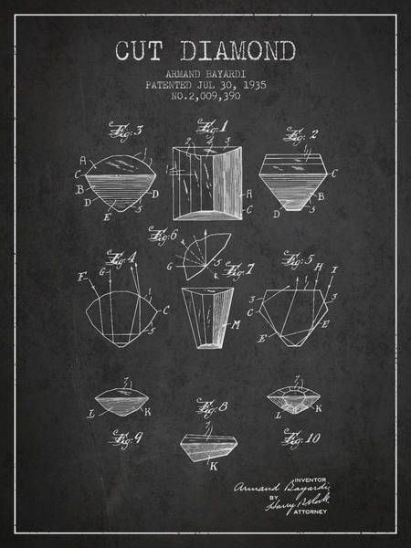Wall Art - Drawing - Cut Diamond Patent From 1935 - Charcoal by Aged Pixel