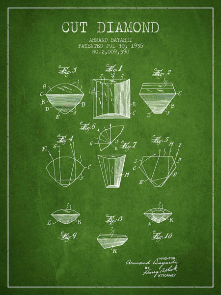 Vintage Patent Drawing - Cut Diamond Patent From 1935 - Green by Aged Pixel