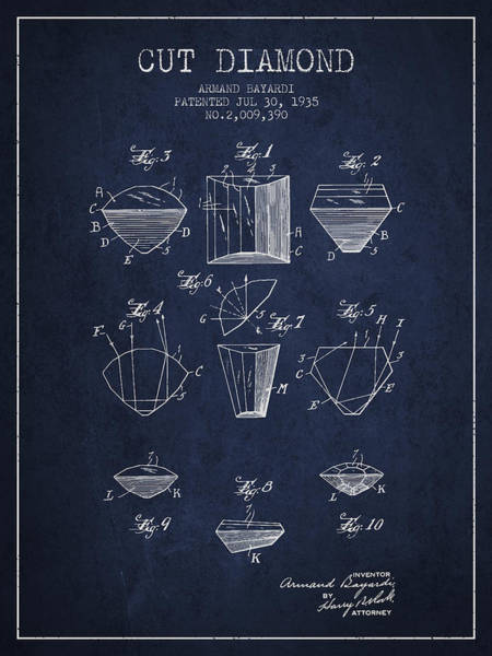 Vintage Patent Drawing - Cut Diamond Patent From 1935 - Navy Blue by Aged Pixel