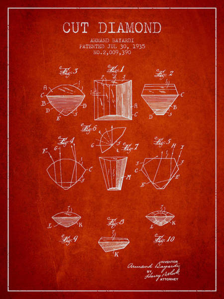Vintage Patent Drawing - Cut Diamond Patent From 1935 - Red by Aged Pixel