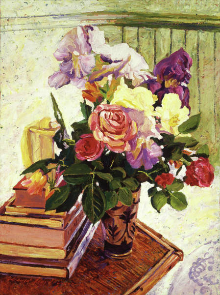 Painting - Cut Iris And Roses by David Lloyd Glover