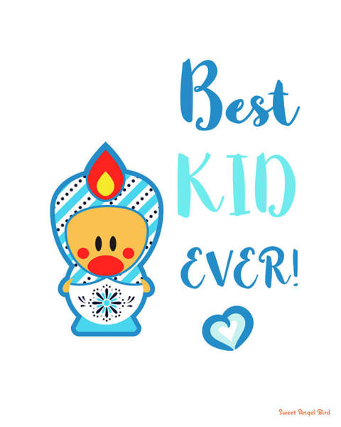Cute Art - Blue And White Folk Art Sweet Angel Bird In A Nesting Doll Costume Best Kid Ever Art Print Art Print