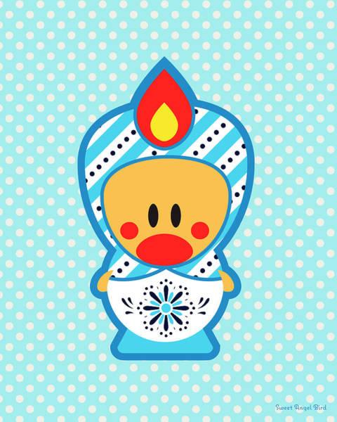Digital Art - Cute Art - Blue Polka Dot Folk Art Sweet Angel Bird In A Matryoshka Costume Wall Art Print by Olga Davydova