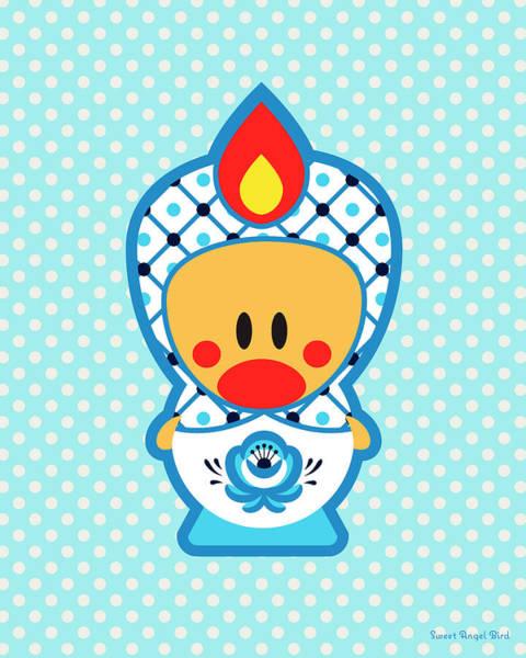Cute Art - Blue Polka Dot Folk Art Sweet Angel Bird In A Nesting Doll Costume Wall Art Print Art Print