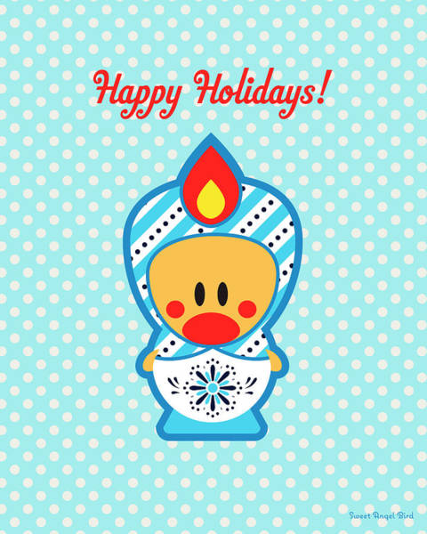 Cute Art - Blue Polka Dot Happy Holidays Folk Art Sweet Angel Bird In A Nesting Doll Costume Wall Art Print Art Print