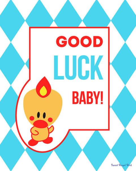 Digital Art - Cute Art - Sweet Angel Bird Blue Good Luck Baby Circus Diamond Pattern Wall Art Print by Olga Davydova