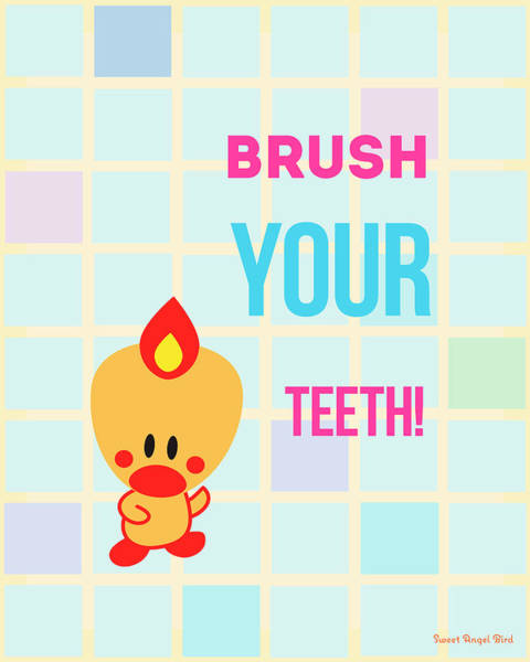 Digital Art - Cute Art - Sweet Angel Bird Brush Your Teeth Bathroom Wall Art Print by Olga Davydova