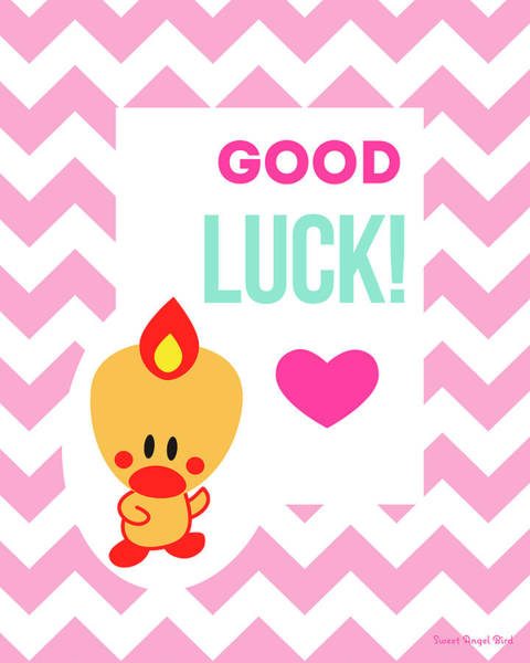 Digital Art - Cute Art - Sweet Angel Bird Cotton Candy Pink Good Luck Chevron Wall Art Print by Olga Davydova
