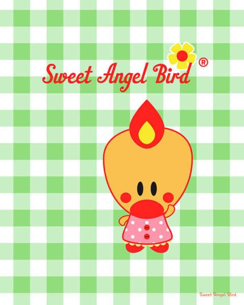 Digital Art - Cute Art - Sweet Angel Bird Gingham Print by Olga Davydova