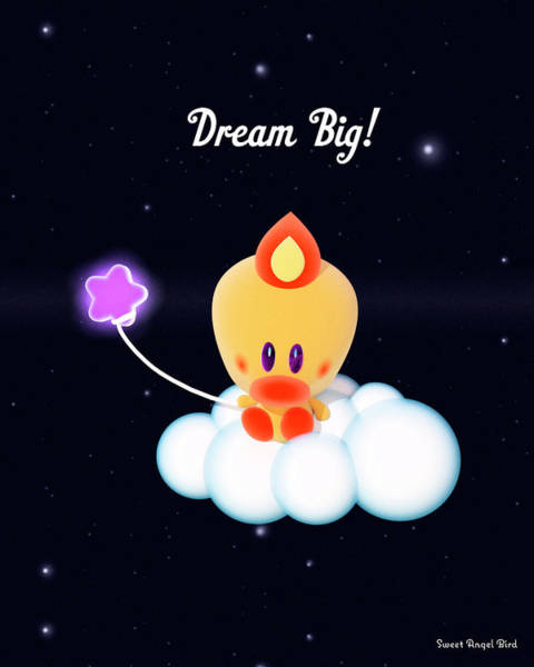 Digital Art - Cute Art - Sweet Angel Bird Holding A Star Balloon Sitting On A Cloud In A Starry Sky Dream Big Wall Art Print by Olga Davydova