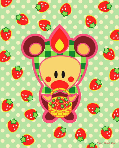 Digital Art - Cute Art - Sweet Angel Bird In A Bear Costume Holding A Basket Of Strawberries Wall Art Print by Olga Davydova