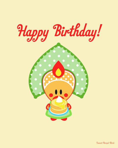 Digital Art - Cute Art - Sweet Angel Bird In A Folk Headdress Holding A Stack Of Pancakes Topped With Cream Happy Birthday Wall Art  by Olga Davydova