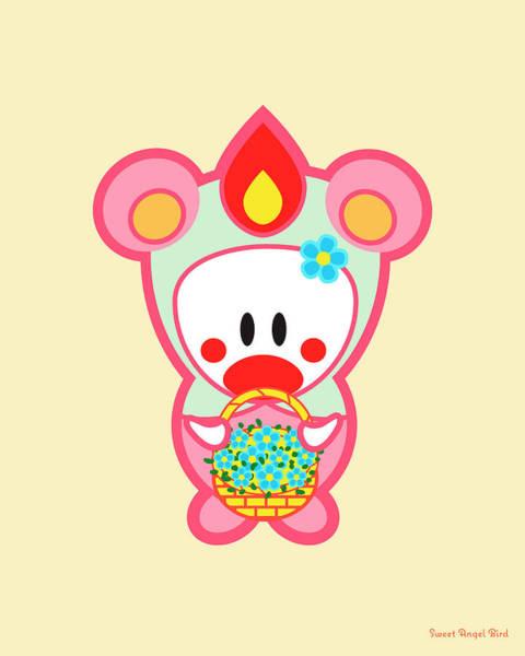 Cute Art - Sweet Angel Bird In A Pink And Mint Bear Costume Holding A Basket Of Flowers Wall Art Print Art Print