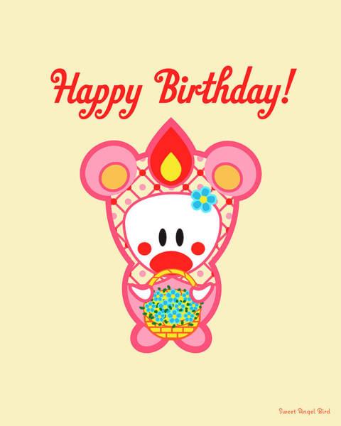 Digital Art - Cute Art - Sweet Angel Bird In A Pink Bear Costume Holding A Basket Of Flowers Happy Birthday Wall Art Print by Olga Davydova