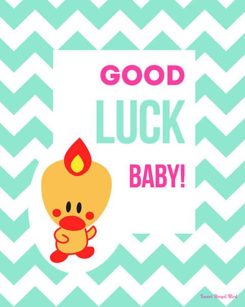 Cute Art - Sweet Angel Bird Light Teal Good Luck Baby Chevron Wall Art Print Art Print