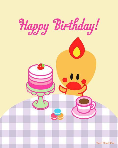 Digital Art - Cute Art - Sweet Angel Bird Macarons And Ombre Cake Print Happy Birthday Wall Art by Olga Davydova