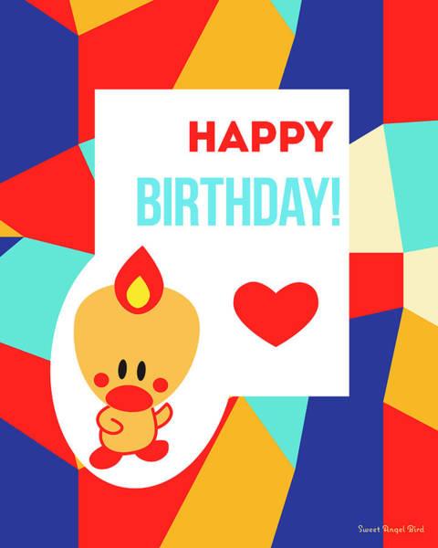 Digital Art - Cute Art - Sweet Angel Bird Multicolor Colorblock Happy Birthday Wall Art Print by Olga Davydova