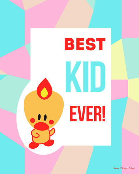 Cute Art - Sweet Angel Bird Pastel Colorblock Best Kid Ever Wall Art Print Art Print