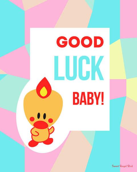 Digital Art - Cute Art - Sweet Angel Bird Pastel Colorblock Good Luck Baby Wall Art Print by Olga Davydova