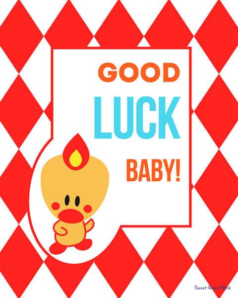 Cute Art - Sweet Angel Bird Red Good Luck Baby Circus Diamond Pattern Wall Art Print Art Print