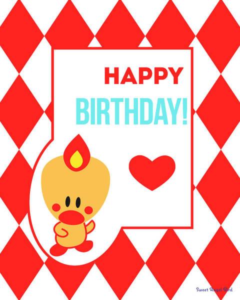 Digital Art - Cute Art - Sweet Angel Bird Red Happy Birthday Circus Diamond Pattern Wall Art Print by Olga Davydova