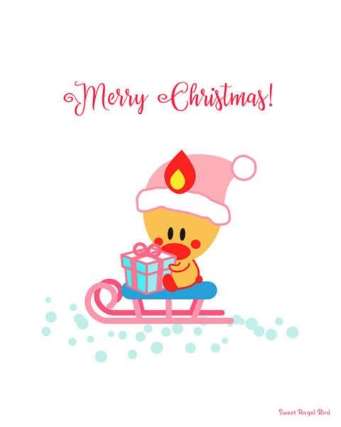 Digital Art - Cute Art - Sweet Angel Bird Sitting On A Sled Christmas Art by Olga Davydova