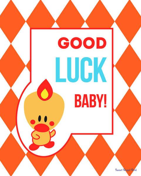 Digital Art - Cute Art - Sweet Angel Bird Terra Cotta Good Luck Baby Circus Diamond Pattern Wall Art Print by Olga Davydova