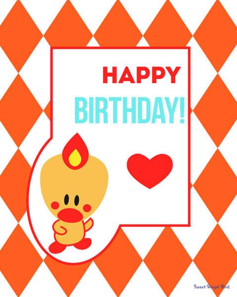 Cute Art - Sweet Angel Bird Terra Cotta Happy Birthday Circus Diamond Pattern Wall Art Print Art Print