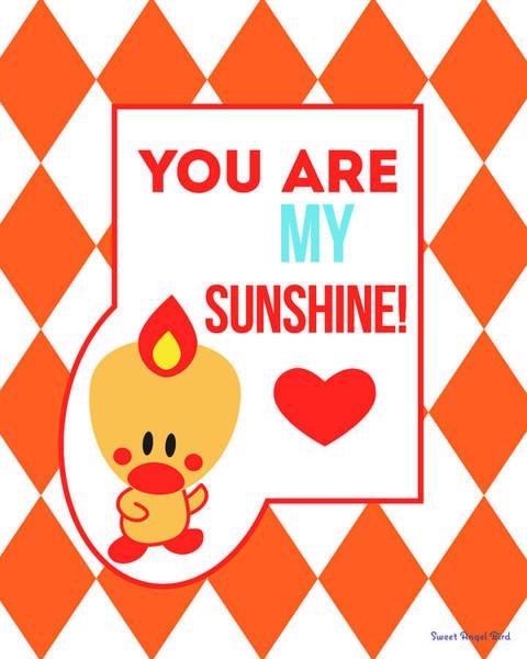 Cute Art - Sweet Angel Bird Terra Cotta You Are My Sunshine Circus Diamond Pattern Wall Art Print Art Print