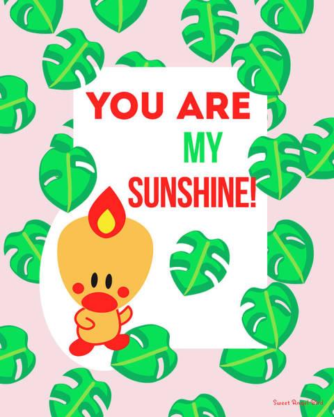 Digital Art - Cute Art - Sweet Angel Bird Tropical Palm Leaves Print You Are My Sunshine Wall Art Print by Olga Davydova