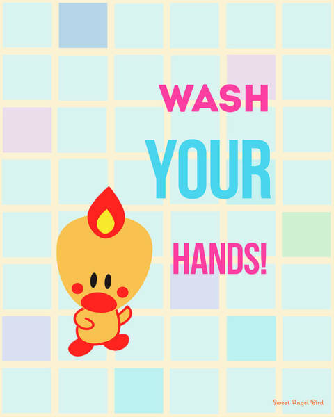Digital Art - Cute Art - Sweet Angel Bird Wash Your Hands Bathroom Wall Art Print by Olga Davydova