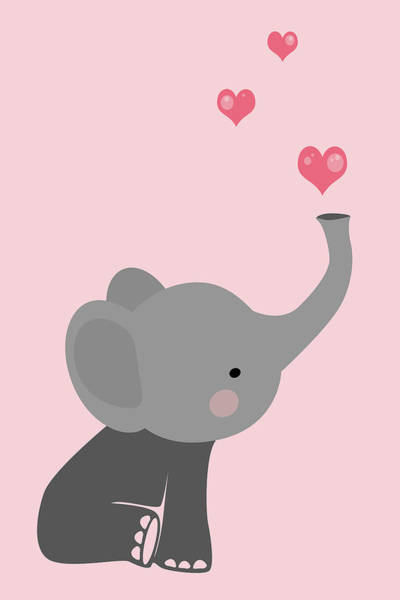 Wall Art - Digital Art - Cute Baby Elephant With Hearts by Mihaela Pater