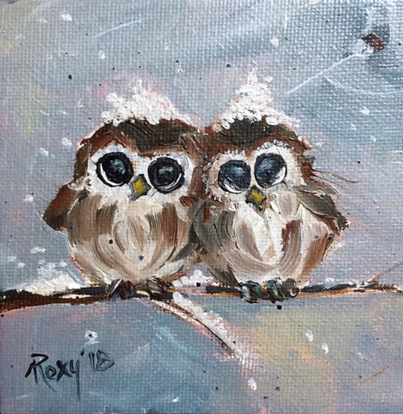 Animal Painting - Cute Baby Owls by Roxy Rich